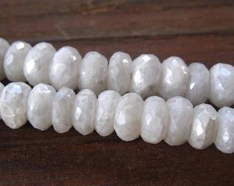 White Mystic Sapphire 6 1/2 inch strand diamond shine rondelles semiprecious gemstones