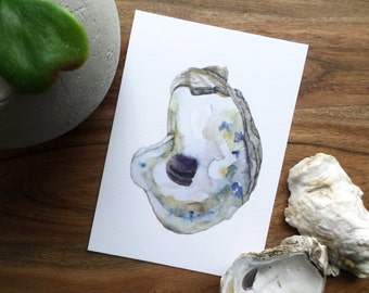 "Watercolor Oyster Painting Print- ""Oyster #1"" Beach Art"