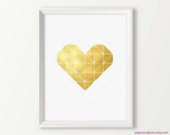 Matte Gold Heart Print, Inspirational Art, Gold Wall Decor, Gold Home Decor, Wedding gift, engagement gift, anniversary gift