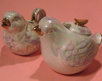 BIrd sugar and creamer set with pink flowers and real gold