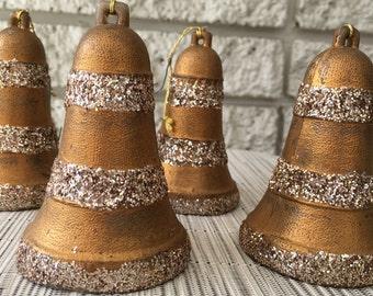 Vintage 1970's Christmas Ornaments - Set of 5 Golden Glittering Bells