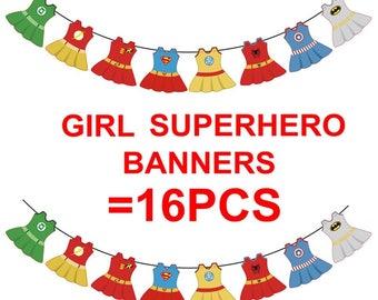 Supergirl banners,baby girl shower banner,superhero banner,bounty banner, supergirl party decoration (16 dresses+ ribbon)3M long