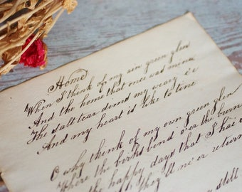 HOME ~ Antique circa 1861 Handwritten Calligraphy Page