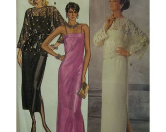 Lace Top Evening Gown Pattern, Straight Dress, Shoestring Straps, Long Skirt, Side Slit, Butterick No. 6950 Size 12 Eng/French Instructions