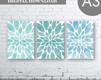 Large Flower Wall Art- Blue Aqua Dahlia Flower Print-Set of Three (3)-Instant Download. Home Petals Bloom Wall Art. Burst. Aqua A3