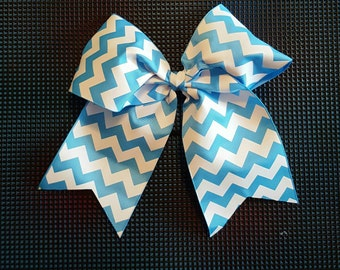 Light Blue and White Chevron Bow
