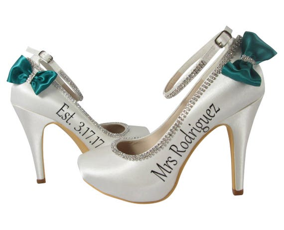 Personalized colors Mrs New and Last choose Rhinestone Wedding Satin Name Bride with Heels Jade Bows gqx6d1UwZd