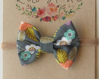 Piper Mini Double Bow in Gray Floral