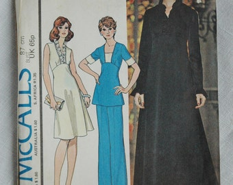 Vintage dress pattern, McCalls 4608, dress or top and pants, size 34 inch bust, 1975, uncut pattern