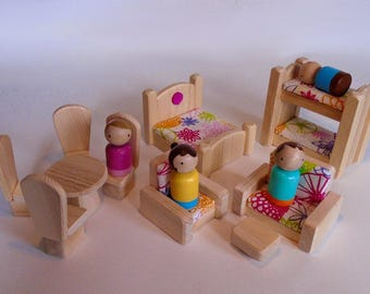 Wooden Toy Peg Doll Furniture, Natural Wood Doll House Toy, Waldorf Kids Toddler Gender neutral Birthday Gift,Simple toy, Jacobs Wooden Toys