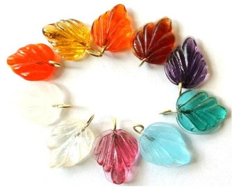 10 Vintage glass dangling beads leaf shape with self loop 10 colors 15mmx12mm