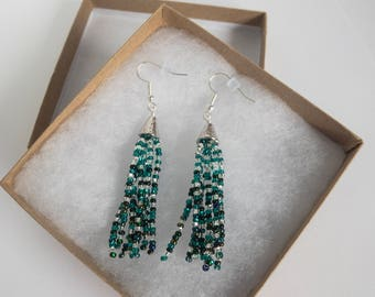 Dangle beaded earrings in light aqua to deep teal ombre