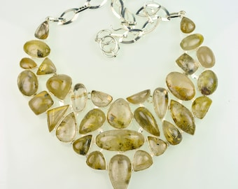 Brazilian Golden Rutile Designer 925 Silver Necklace