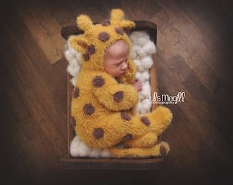 PRE ORDER Fuzzy Newborn Giraffe suit/bonnet set
