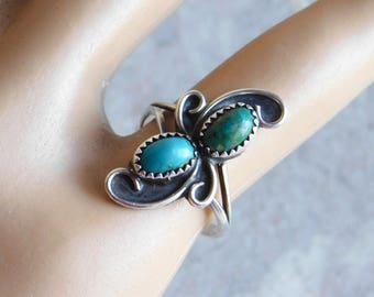 Vintage Navajo Sterling Silver and Turquoise Ring - Size 5 - Native American Silver Jewelry - Two Shades of Turquoise - Swirled Setting