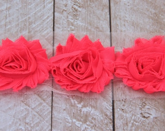 1 Yard Shabby Chiffon Flower Trim in Neon Pink - Flower Trim for Headbands and DIY supplies