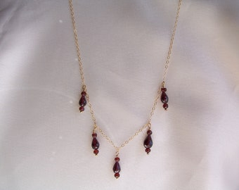 "Tiny garnet necklace  14k gold filled 18 1/2"" dark red handmade gemstone item 319"