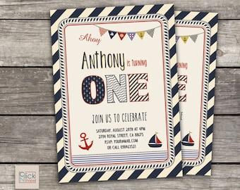 Nautical Boy First Birthday Invitation // Boy Birthday Invitation // Nautical Invitation // Nautical Birthday // 1st Birthday Party
