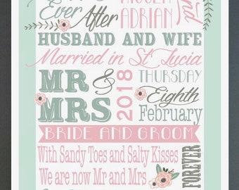 Wedding word print