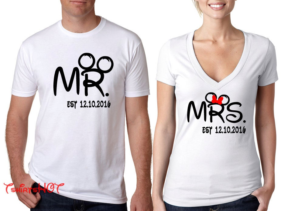 Disney couple shirts with date diseny mr and mrs shirt for Couple printed t shirts india