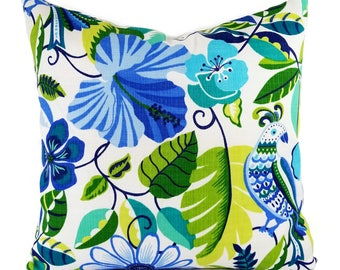 Two OUTDOOR Pillow Covers - Blue Pillow Cover - Green Throw Pillow - Floral Pillow - Decorative Pillow - Patio Pillow - Euro Sham Cover