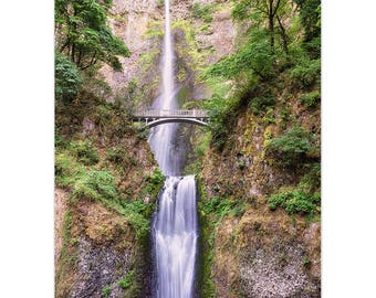 Multnomah Falls, Waterfall Photo, Oregon Waterfalls, Columbia River Gorge, Pacific Northwest, Oregon Photography, Matted Print