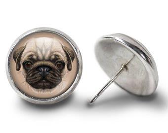 Pug Earrings - Pug Dog Earrings - Cute Pug Jewelry for Her (Pair) Lifetime Guarantee (E0806)