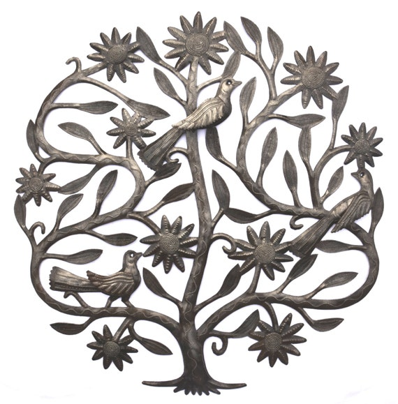 """Tree of Life with 3-D Wings, Garden Metal Wall Art Recycled from Steel Barrels  23"""" x 23"""""""