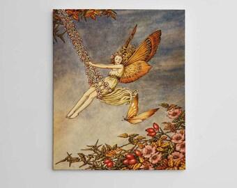 Swinging Fairy Wall Art, Flower Fairies, Beautiful Fairy Art, Fairy Art Print, Fairy Artwork, Fairy Wall Decor