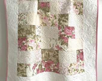 Modern Patchwork Baby Girl Quilt Pristine Collection Shades of Pink Green White
