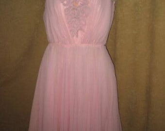 60s Chiffon Dress Full Skirt Petite Pink Vintage