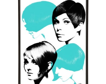 Pop Crops - Pop art print of iconic 1960s hairstyles, with Art & Hue's stylish pop art treatment, part of the Mod Hair collection.