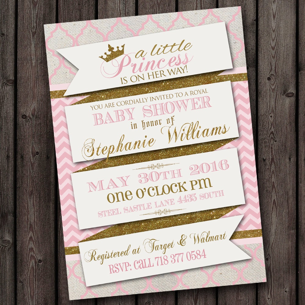 pink gold scroll royal baby shower invitation princess baby