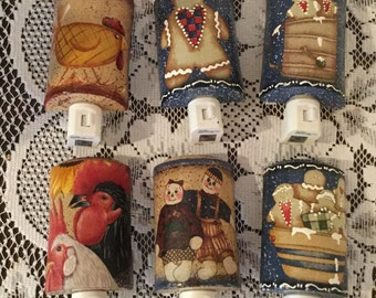 Night Lights Gingers Raggedy Ann Andy Housewarming Gift Country Home Cottage Chic Home Decor Light Ready to Ship Choose One