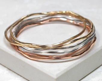 Mixed Metal Stacking Bangles - Gift for her - mothers day - gift for mum
