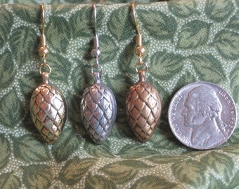 Pine Cone Earrings - Antique Gold Shiny, Antique Silver Matte, Antique Gold Matte
