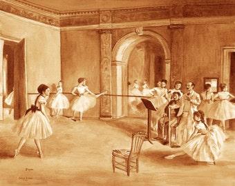 coffee art, Ballet Class, painted using only coffee, dancer, ballet, ballerina, espresso, 1880s, Impressionist, Degas