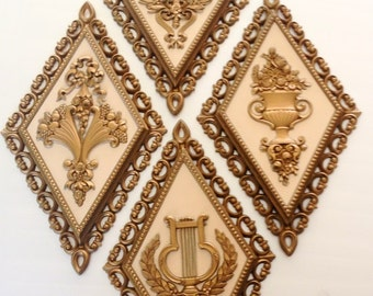 Gold Wall Accents, Molded Wall Plaques, wall decor made in USA, Hollywood regency style, wall hangings home interior