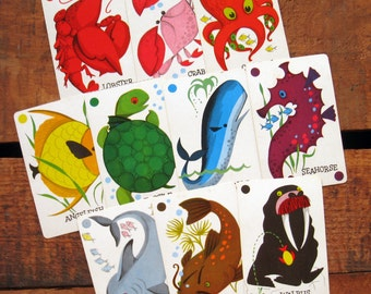 Vintage Catch Marine Animal Cards - Set of 10 - Learning, Colors