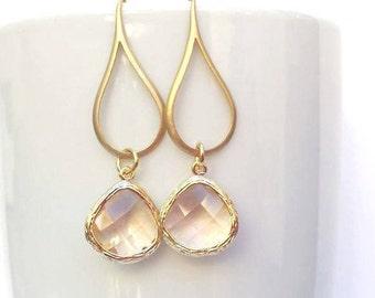 Gold Champagne Earrings, Peach Earrings, Blush Earrings, Blush Pink Earrings,Gold Champagne Earrings,Bridesmaid Gift,Wedding Earrings,Bridal