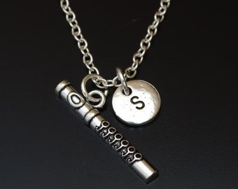 Flute Necklace, Flute Jewelry, Flute Charm, Flute Pendant, Soprano Flute Charm, Music Necklace, Music Teacher, Gift, Flutist Necklace
