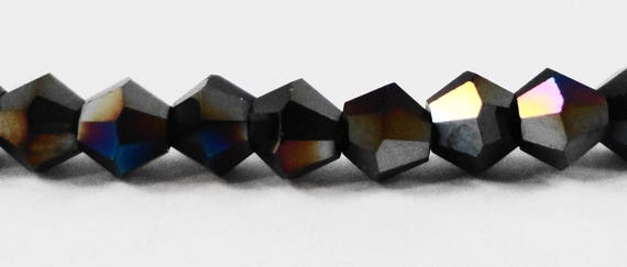 Black AB Crystal Beads 3mm Bicone Crystal Beads, Black Crystal Bicone Beads, Tiny Faceted Chinese Crystal Glass Beads, 100 Loose Beads