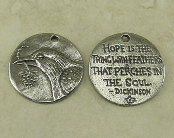 Bird Hope Green Girl Charm Pendant - Swallow Sparrow Dickinson Branch - American Artist Made Lead Free Pewter Silver 468