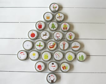 Santa Reusable Magnetic Christmas Advent Calendar / Advent Tins / Magnet Advent with Containers / 25 Day Christmas Countdown
