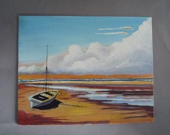 Seascape low Tide original art boat painting wall art gift idea seascape painting coastline