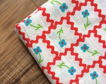Vintage Blue & Red Floral Searsucker Fabric|| 2 yards