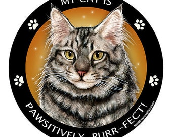 Maine Coon Silver Tabby Cat My Best Friend Dog Magnet