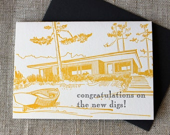 Letterpressed 'Congratulations on the New Digs' Card