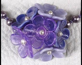 Lavender Lilac Handmade Lampwork Flower Bud Necklace by MMB SRA # U5