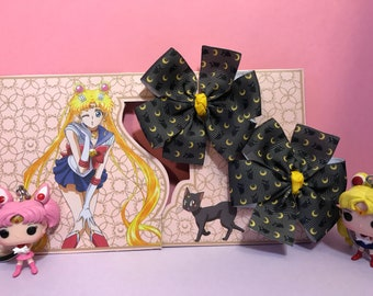 Sailor Moon, Luna cat, Sailor Scouts, Pinwheel Bow Hair Clip, Baby Hair Clip Bow, Toddler Hair Clip Bow, Girl Hair Clip Bow